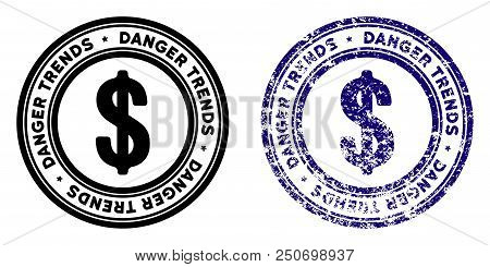 Economics Danger Trends Round Stamp In Grunge Blue And Clean Black Styles. Rubber Seal Stamp With Gr