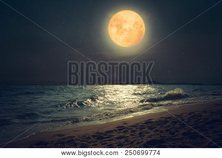 Beautiful Fantasy Tropical Sea Beach. Full Moon (super Moon) With Star Over Seascape In Night Skies.