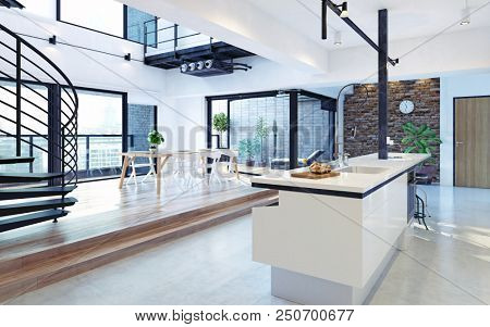Luxury modern loft apartment interior. 3d rendering concept