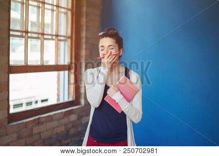 Portrait Of Beautiful White Caucasian Young Brunette Woman Student Female Artist College University.