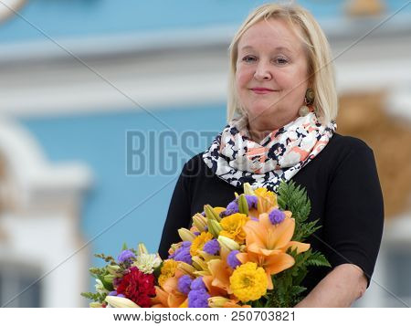 ST. PETERSBURG, RUSSIA - JULY 22, 2018: Director of State Museum Reserve Tsarskoe Selo Olga Taratynova during the closing ceremony of the festival All Together Opera at the Catherine Palace