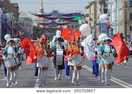 ST. PETERSBURG, RUSSIA - MAY 27, 2018: Drummers group on Nevsky avenue during Drummers parade. The parade is a part of City Day celebrations which is timed to the day of foundation of Saint Petersburg