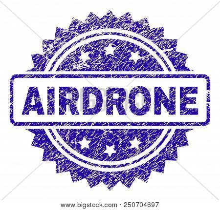AIRDRONE stamp imprint with grunge style. Blue vector rubber seal print of AIRDRONE title with grunge texture. poster