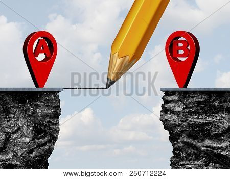 Point A To Point B Location Roadmap And Gps Navigator Pin Drawing A Connection To A Destination Chal