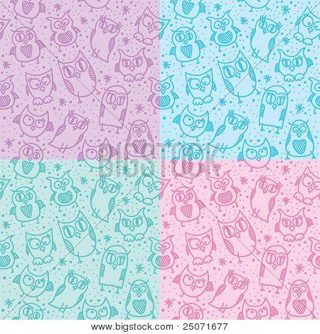 owl seamless patterns