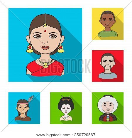 The Human Race Flat Icons In Set Collection For Design. People And Nationality Vector Symbol Stock