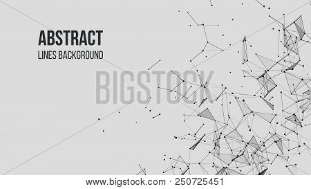 Vector Technology Background. Plexus Effect. Abstract Polygonal Background With Connecting Dots And