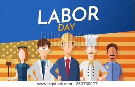 Labor Day Card With People Occupation Difference With American Flag