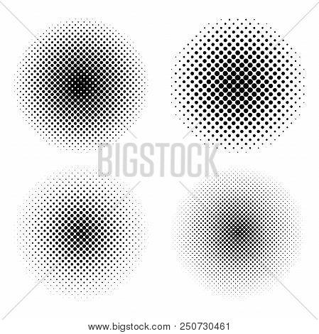 Set Of Circle Halftone. Abstract Halftone Background. Black Circles.