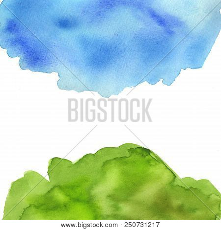 Abstract Blue And Green Watercolor On White Background. The Color Splashing In The Paper. It Is A Ha