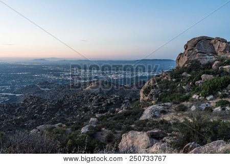 San Fernando Valley in Los Angeles California.  Predawn view from Rocky Peak Park near Porter Ranch and Simi Valley.