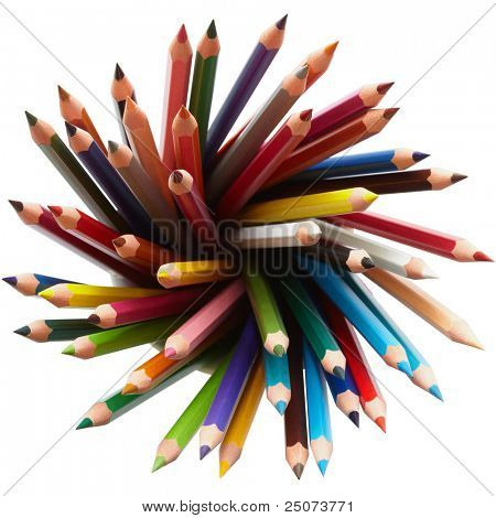 Colored pencils, isolated on the white background, clipping path included.