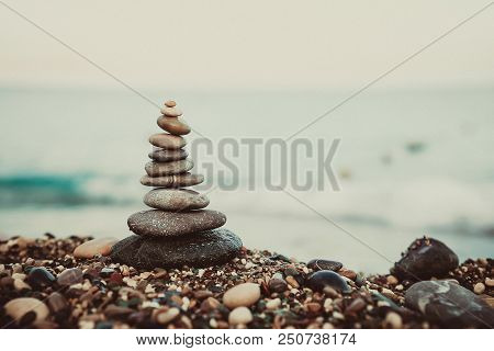 Stones Balance And Wellness Retro Spa Concept, Inspiration, Zen-like And Well Being Tranquil Composi