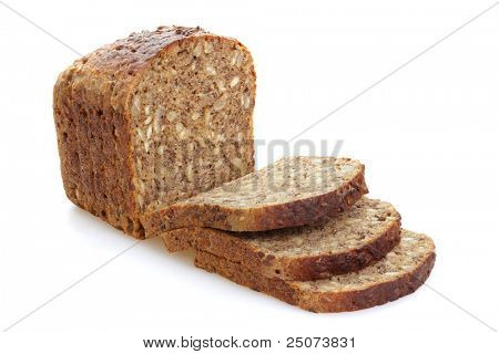Sliced brown bread with whole grain, isolated on the white background.