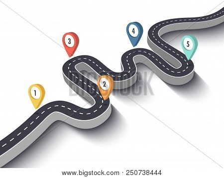 Road Trip And Journey Route. Business And Journey Infographic Design Template With Pin Pointer. Wind