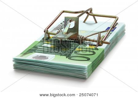 Mousetrap made of one hundred euro banknotes, isolated on the white background. Full focus. poster