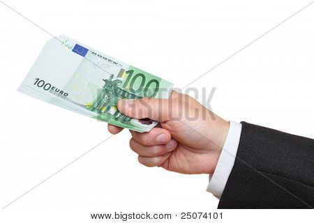 Hand of businessman holding one hundred euro banknotes,  isolated on the white background, clipping path included.