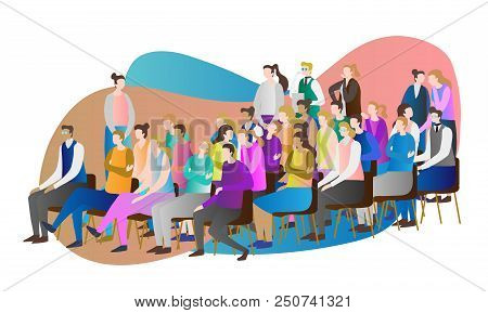 Crowd Audience Vector Illustration. Group Of People, Person And Spectators Together Watching, Sittin