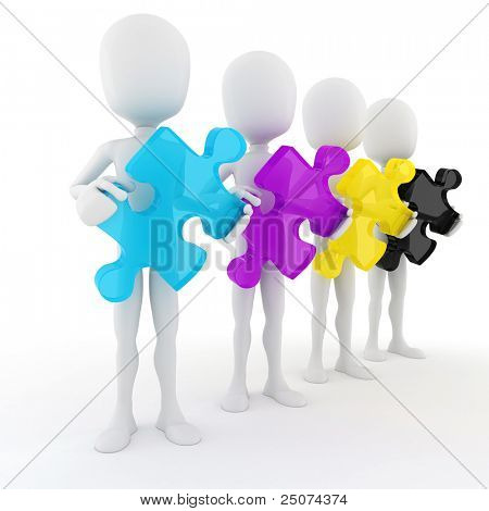 3d man holding colorful CMYK puzzle pieces, on white background