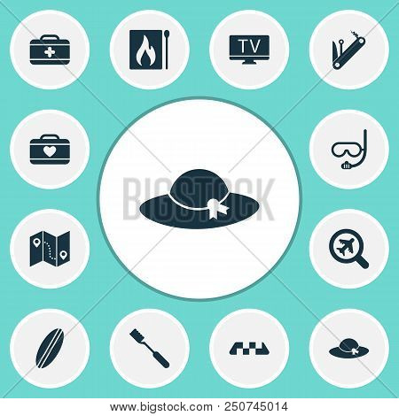 Journey Icons Set With Underwater Mask, First Aid Kit, Tv And Other Guide Elements. Isolated Vector