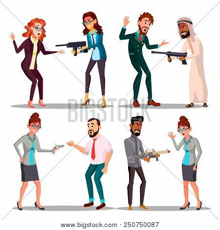 Business People With Gun Vector. Man, Woman. Pointing, Aiming. Sad, Desperate Attempt Terrorism Isol