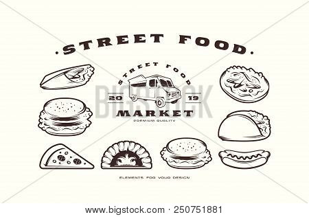 Stock Vector Set Of Fast Food Icons And Elements. Design In Thin Line Style. Black Print On White Ba