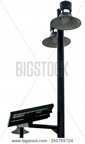 Street Lamppost With Solar Cell Panel Power. Electric Pole With Solar Energy. Green Energy Concept.