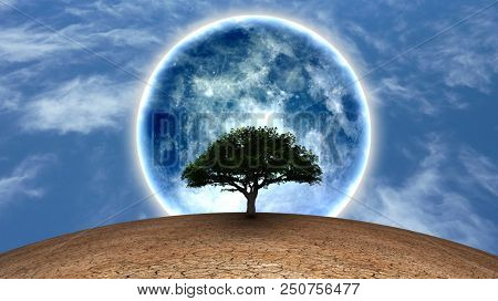 Surrealism. Green tree in arid land. Full moon in blue sky. 3D rendering poster