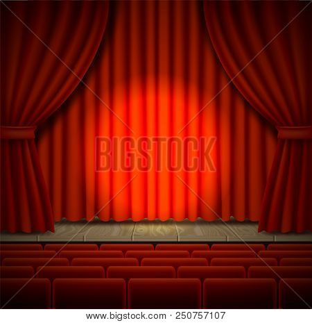 Empty Concert Stage Vector Realistic Illustration Of Theater Opera Or Cinema Scene With Red