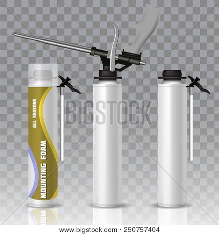 Polyurethane Mounting Foam Packaging Tube Wih Gun Mockup Set. Vector Realistic Illustration Isolated