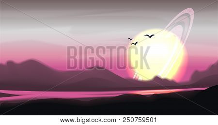 Fantastic Colored Panorama, Fantasy Vector Landscape. Space Vector Sci-fi Background, Gas Giant With