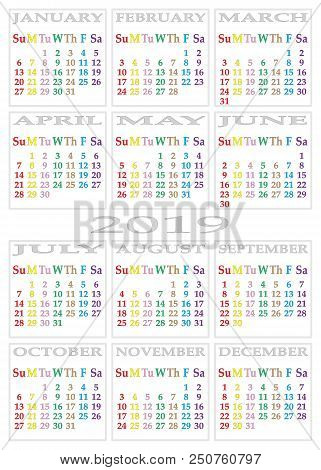 Calendar 2019 On White Background With Specific Color For Each Day Of The Week