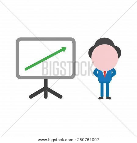 Vector Cartoon Illustration Concept Of Faceless Businessman Mascot Character With Presentation Chart