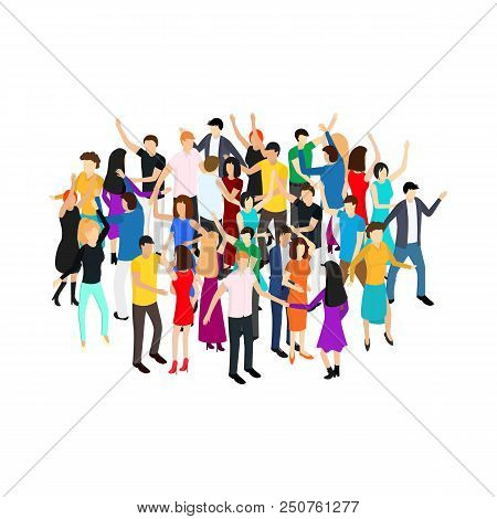 Isometric Dancing People Characters Crowd Circle Solo Or Pairs On Music Party, Disco. Vector Illustr