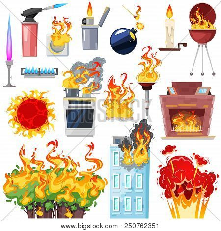 Fire Vector Fired House With Burnt Door Fiery Smoky Kitchen In Hot Flame Blaze Illustration Set Of L