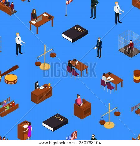 Court Seamless Pattern Background Law And Justice Concept 3d Isometric View Include Of Judge, Lawyer