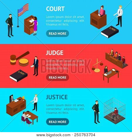 Court Session Law And Justice Concept Banner Horizontal Set 3d Isometric View Include Of Judge, Lawy