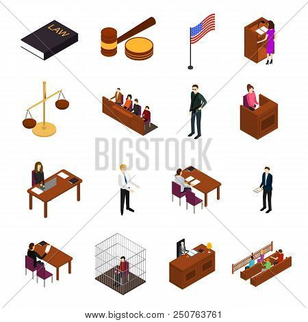 Court Session Law And Justice Concept Icons 3d Isometric View Include Of Judge, Lawyer, Jury, Defend