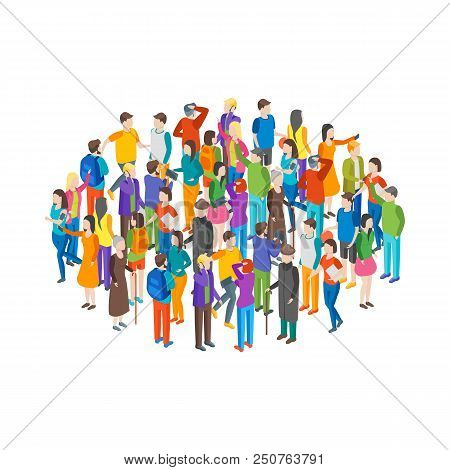 People Characters Crowd Circle Isometric View Different Types Social Man And Woman For Report, Resea