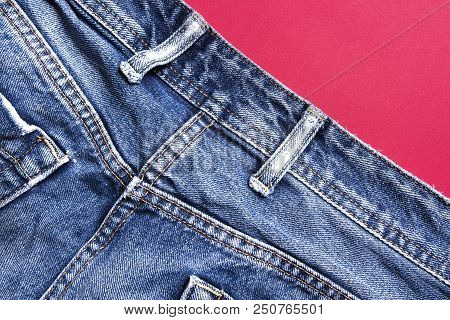 Jeans Close-up. Material Texture Jeans. Jeans Background