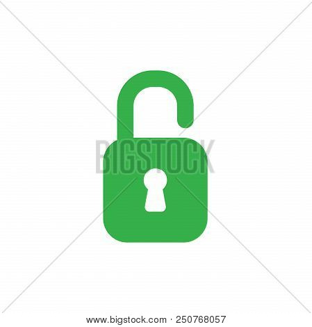 Flat Design Style Vector Illustration Concept Of Green Open Padlock Icon On White Background.