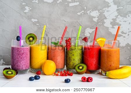 Berry And Fruit Smoothie, Healthy Juicy Vitamin Drink Diet Or Vegan Food Concept, Fresh Vitamins, Ho