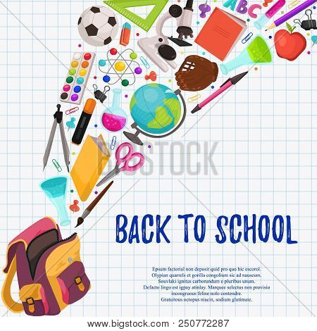 Hand Drawn School Objects Flying Out Of Backpack Composition. Vector Illustration Of School Accessor