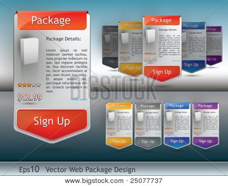 set of package design for website