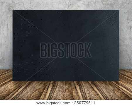 Blank Long Black Fabric Canvas Frame Leaning At Concrete Wall On Wooden Floor In Perspective Room,bu