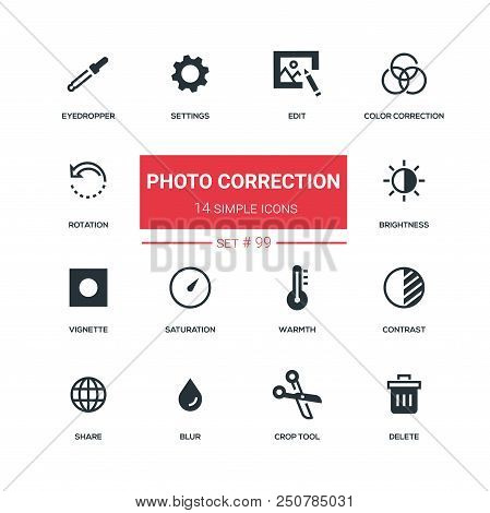Photo Correction - Flat Design Style Icons Set, Pictograms. Edit, Color Correction, Rotation, Eyedro