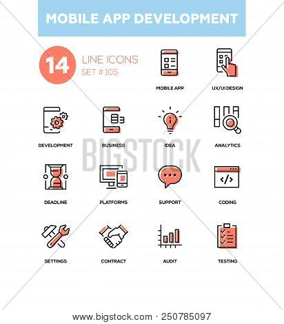 Mobile App Development - Modern Line Design Icons Set. Mobile App, Ux And Ui Design, Development, Bu