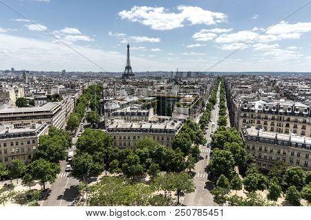 A View Across Paris From The Arc De Triomphe