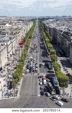 Paris, France - 01/06/15 A View Down The  Chans De Lise From The Arc De Triumph