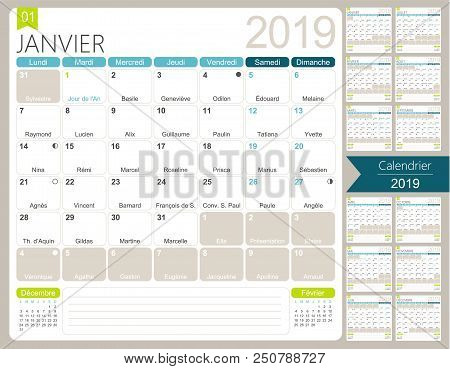 Calendrier 2019 Vectoriel.French Calendar 2019 Vector Photo Free Trial Bigstock